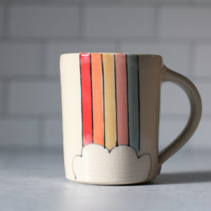 Rainbow stripe & cloud mug