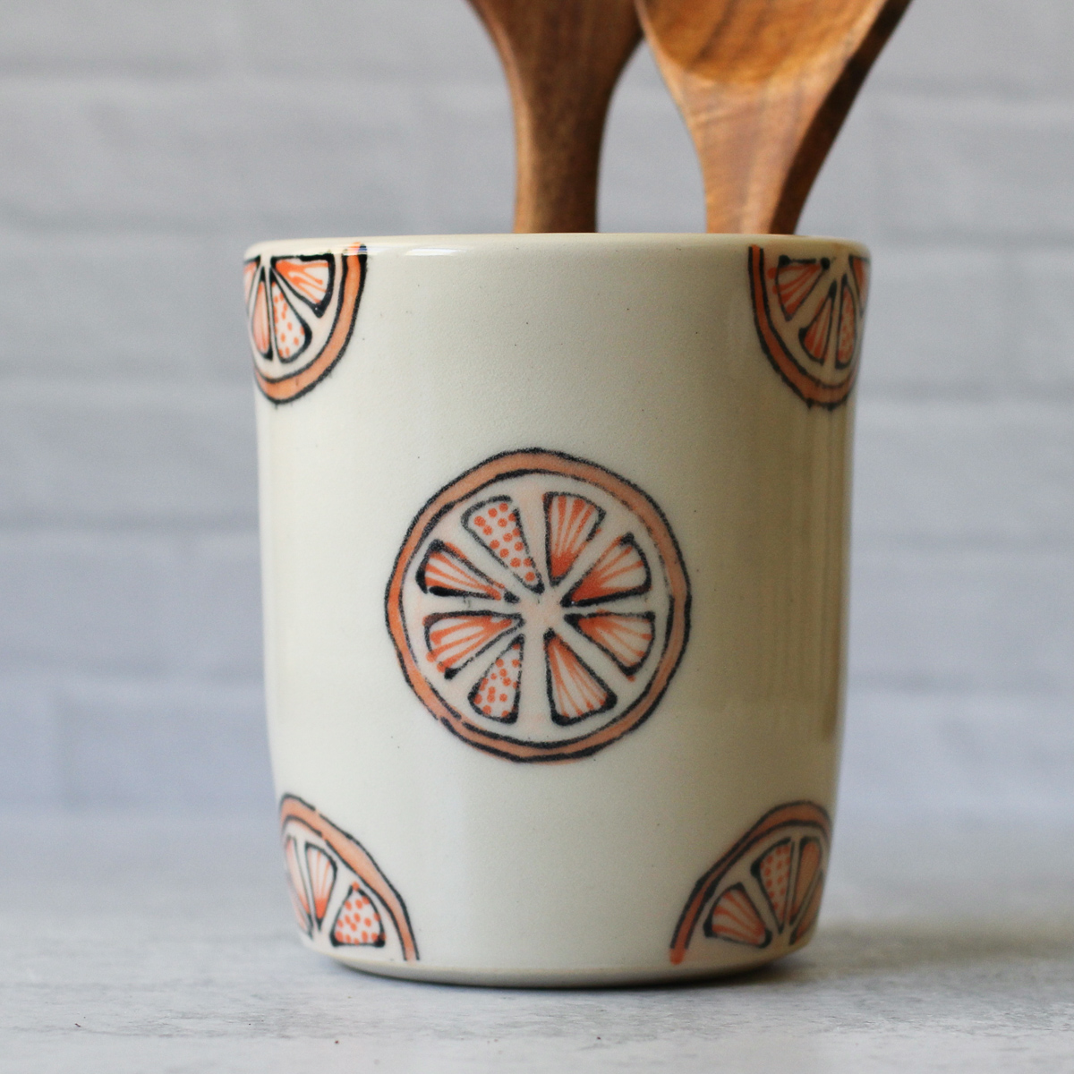 Medium utensil holder - oranges