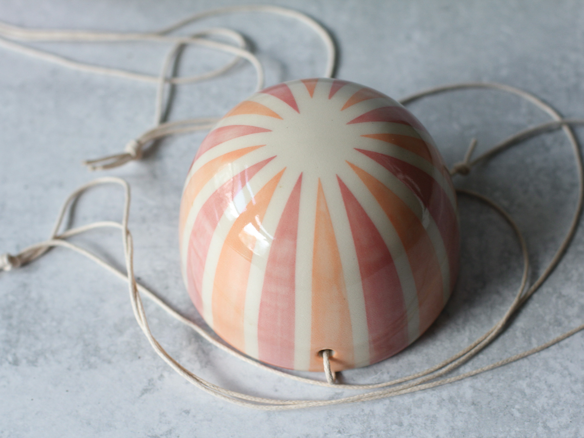 Bottom - Pink Orange Stripe Hanging Planter