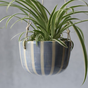 Cornflower Blue Stripe Hanging Planter